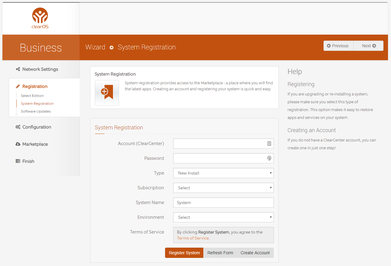 System Registration on ClearOS Business