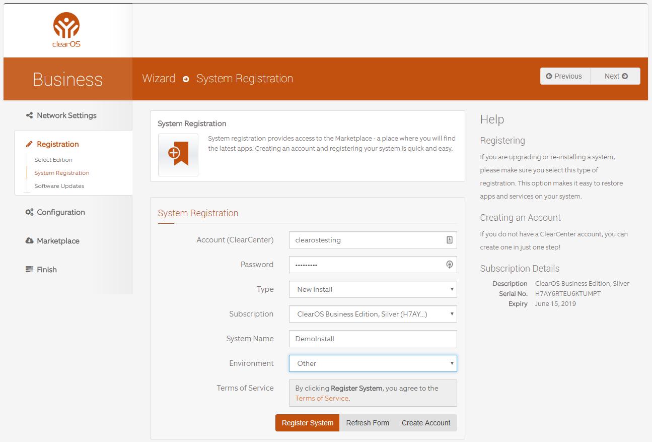 System Registration