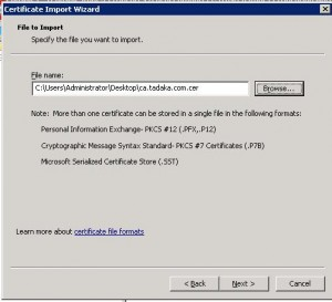 Import the CA certificate