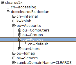 LDAP password policy objects in ClearOS