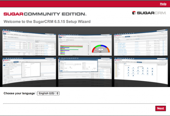 SugarCRM wizard start screen