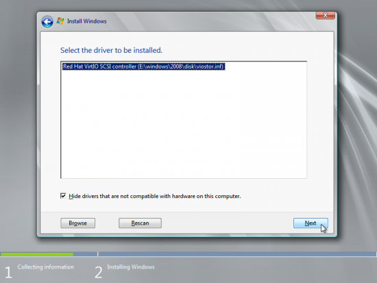 Next, select the Red Hat VirtIO SCSI controller driver and click Next