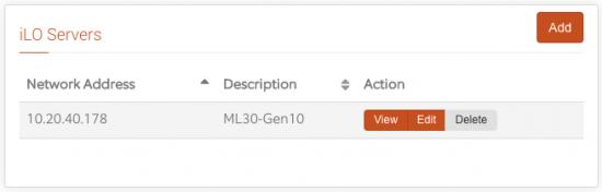 iLO Servers Main View