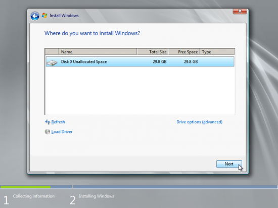 Now the virtual hard drive will be available to Windows, select it and click Next.