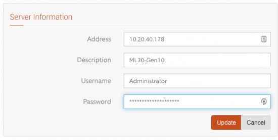 iLO Servers Server Information Filled