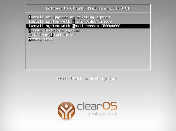 ClearOS Boot Screen