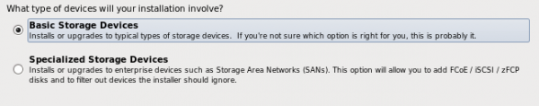 ClearOS Installer - Storage Devices